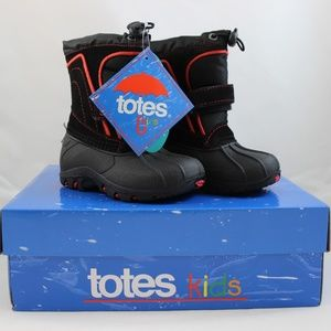 Totes Trent Toddler Boys' Winter Boots - Black/Red